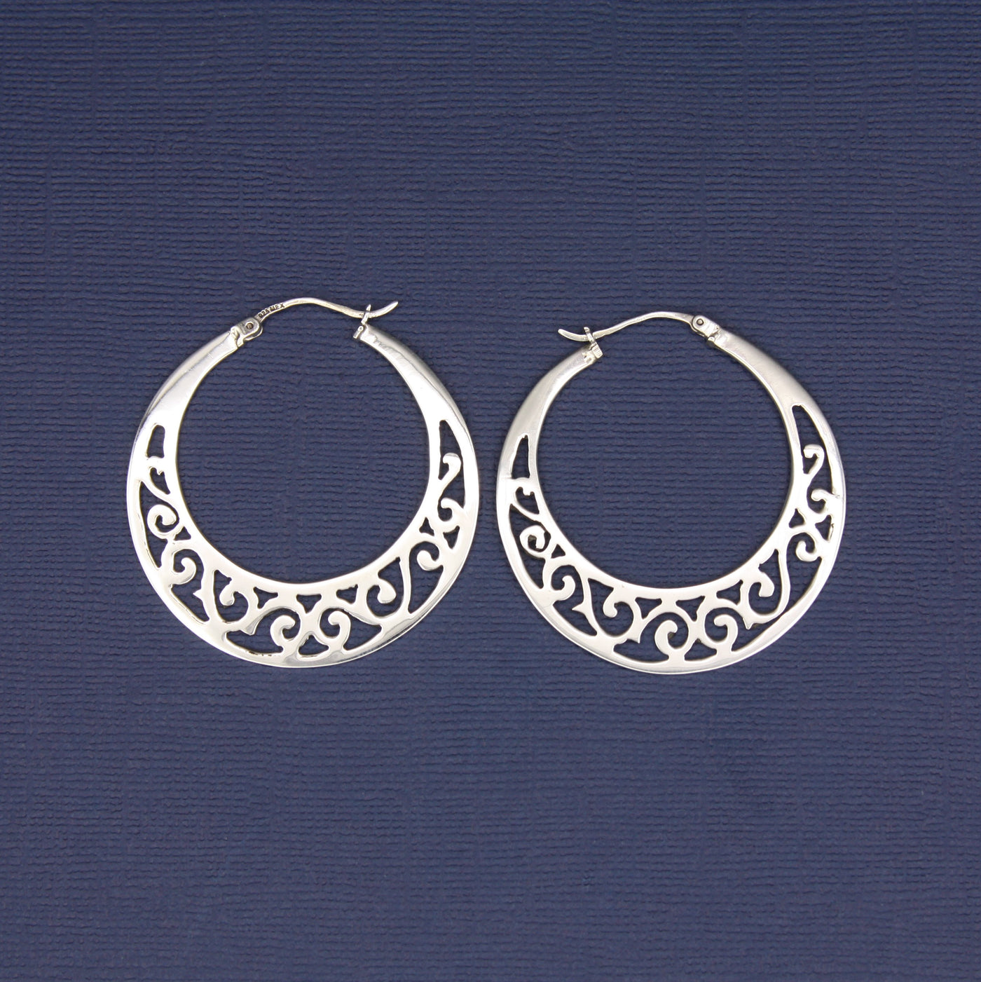 Sterling Silver Swirly Hoop Earrings