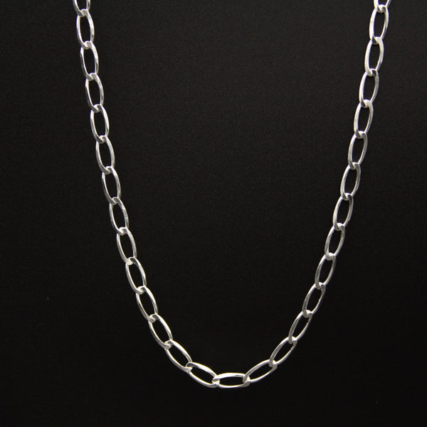 Sterling Silver Diamond Cut Link Necklace 18""