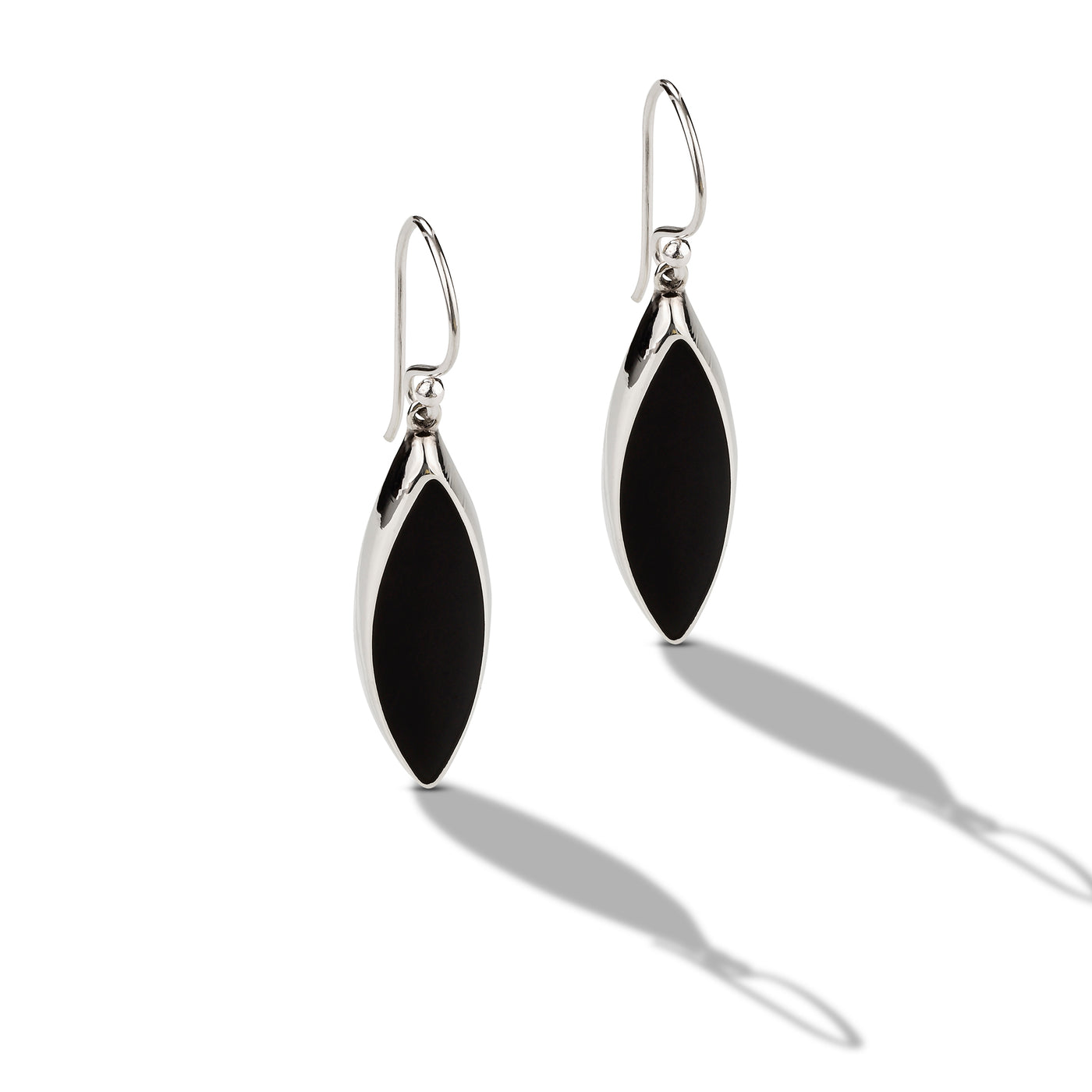 Silver and Black Onyx Drop Earring
