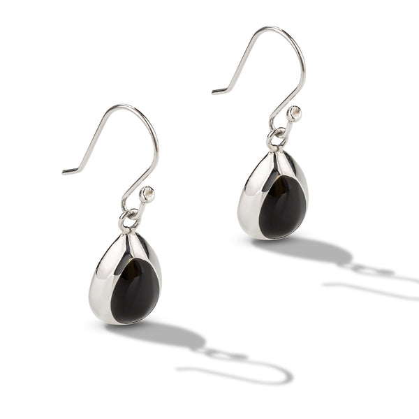 Silver Onyx Tear Drop Earrings
