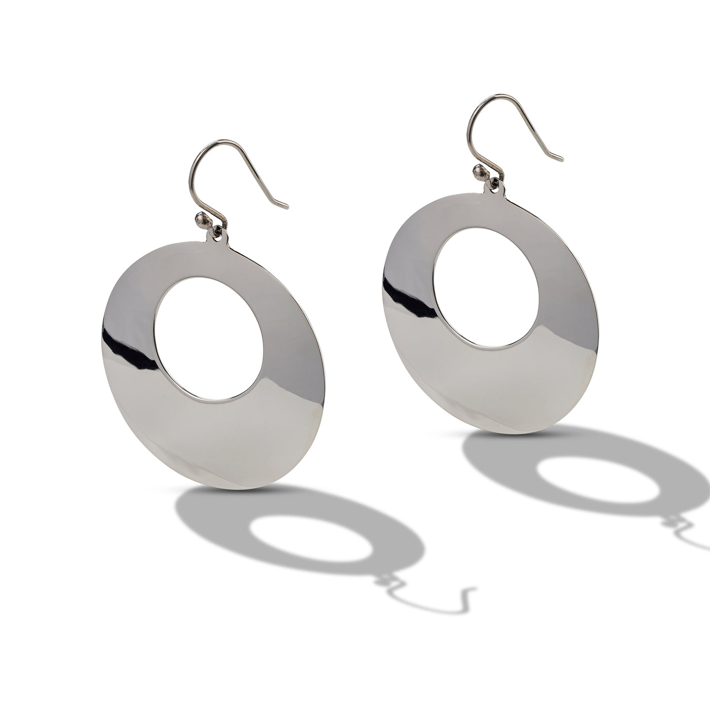 Large Polished Circle Earrings