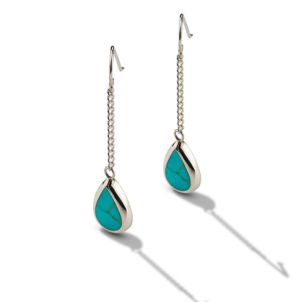 Sterling Silver Turquoise Tear Drop Earrings