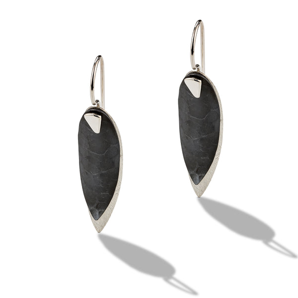 Two Toned Oxidized Drop Earrings