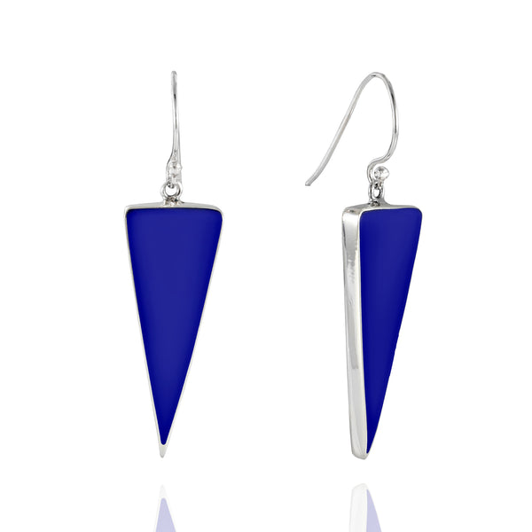 Sterling Silver Lapis Lazuli Triangle Drop Earrings