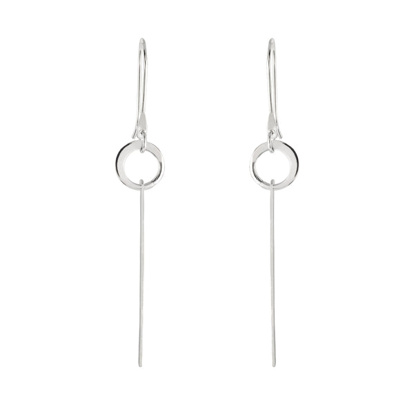 Sterling Silver Circle Bar Drop Earrings