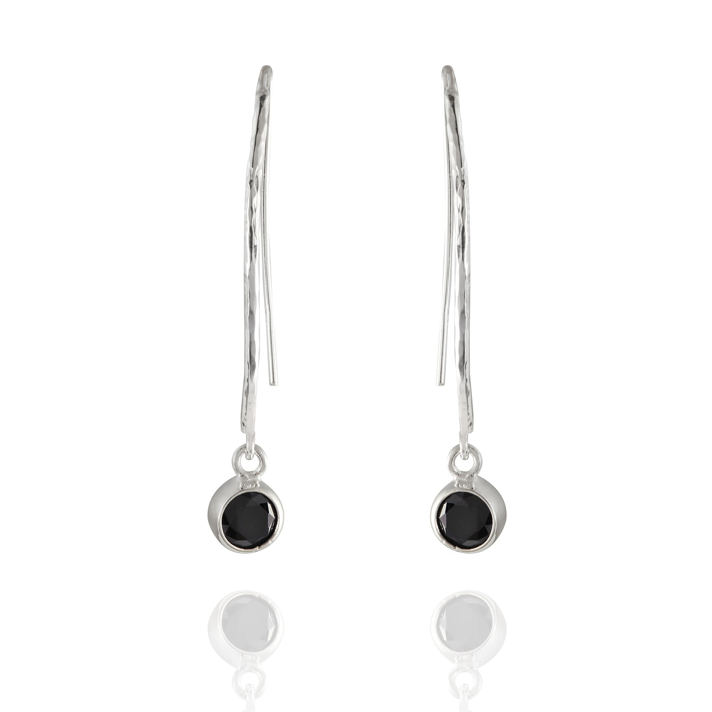 Sterling Silver French Wire Onyx Drop Earrings