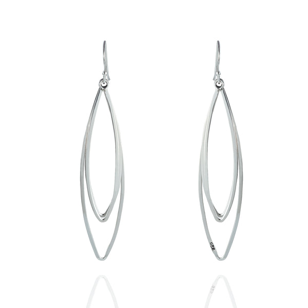 Sterling Silver Marquis Chandelier Drop Earrings