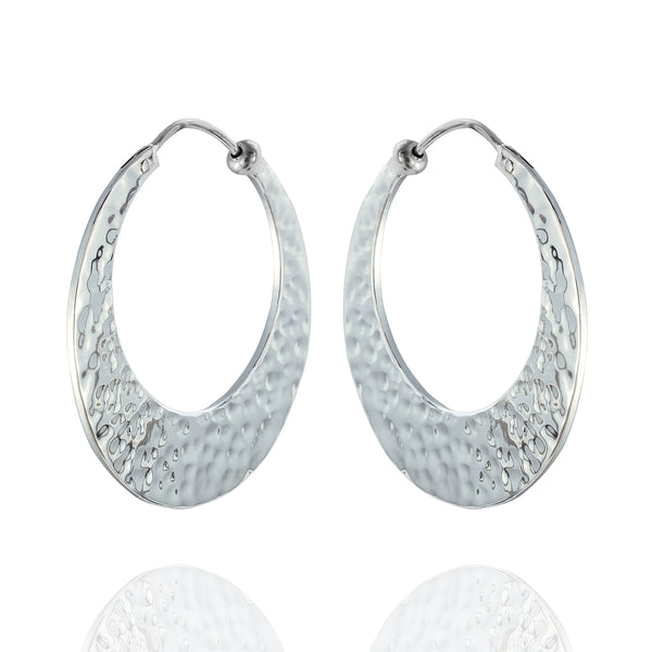 Sterling Silver Medium Hammered Hoop Earrings