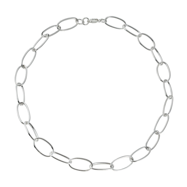 Sterling Silver Oval Link Necklace 18""