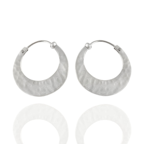 Sterling Silver Small Hammered Hoop Earrings