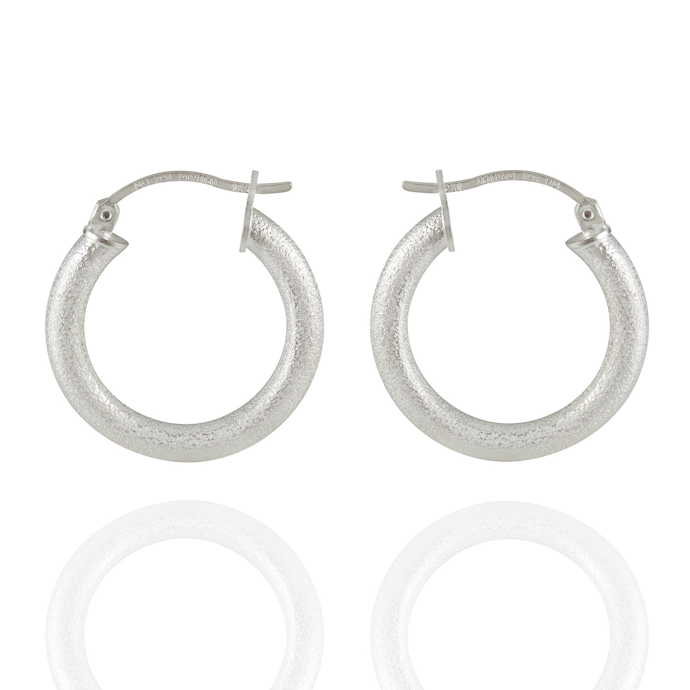 Sterling Silver Small Sand Blasted Matte Hoop Earrings