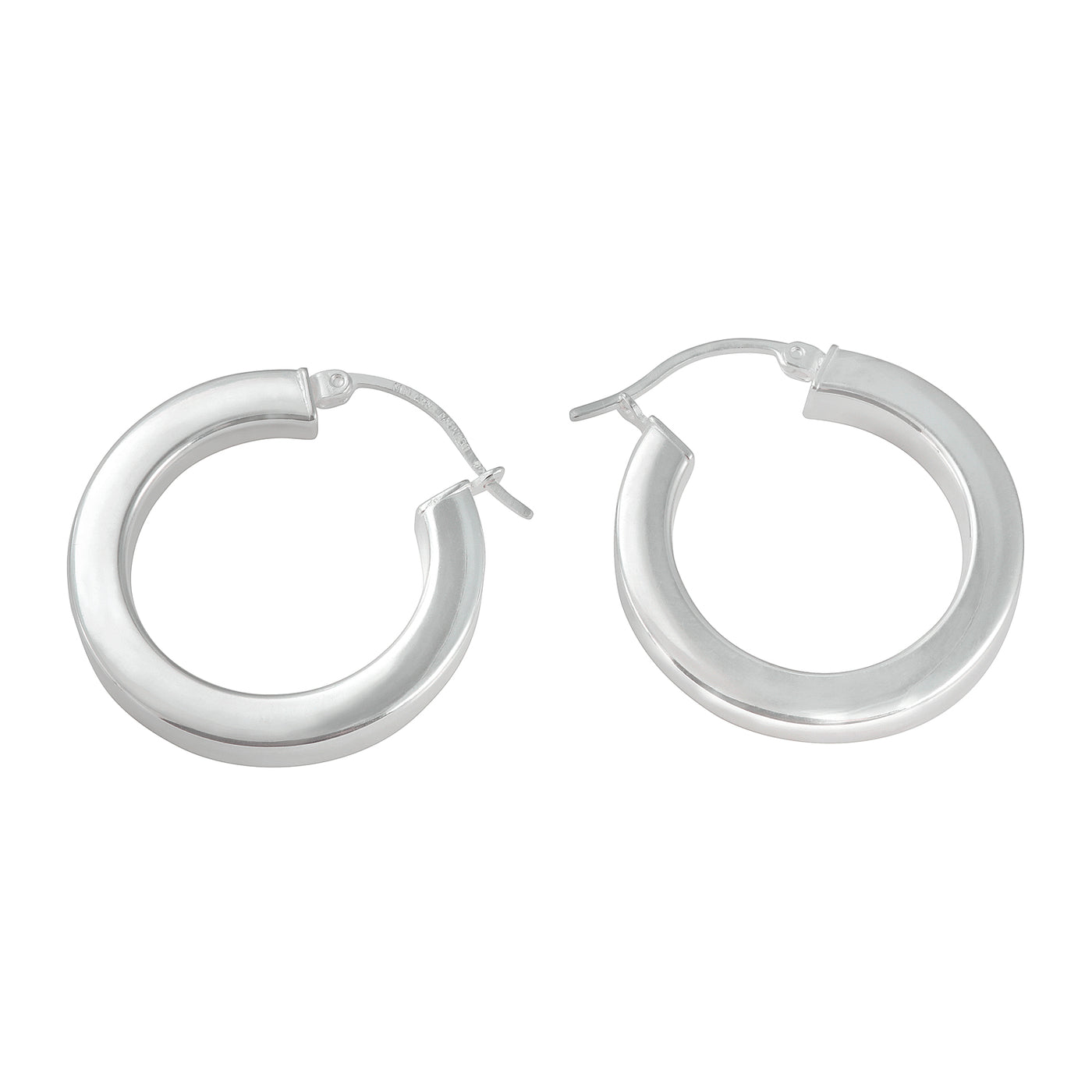 Sterling Silver Squared Tube Hoop Earrings
