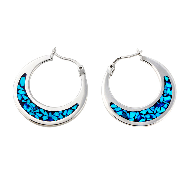 Sterling Silver Turquoise Chip Inlay Small Hoop Earrings