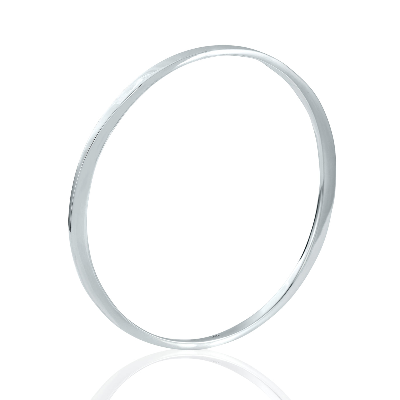 Sterling Silver Two Flattened side Bangle Bracelet