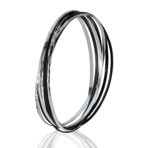 Sterling Silver Blackened Connected Bangle Bracelet
