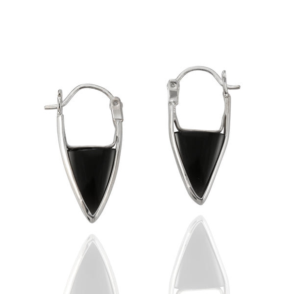 Sterling Silver Black Onyx Hoop Earrings