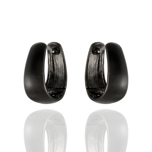 Sterling Silver Blackened Huggie Earrings