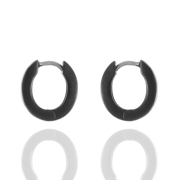 Sterling Silver Blackened Oval Huggie Earrings