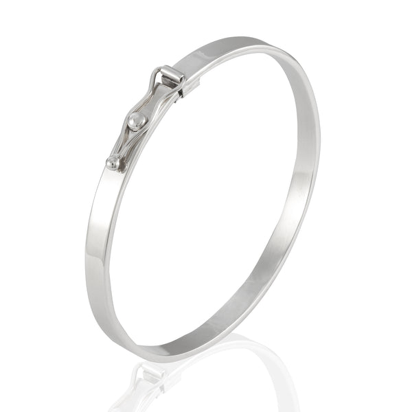 Sterling Silver Flattened Bangle Bracelet with Closure