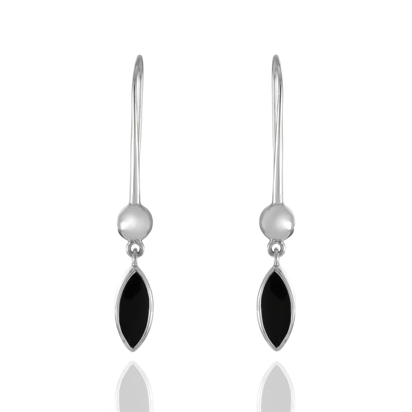 Sterling Silver Marquis Onyx Stone Drop Earrings