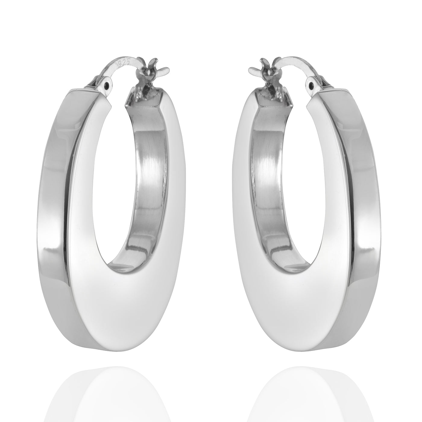 Sterling Silver Bold Oval Hoop Earrings