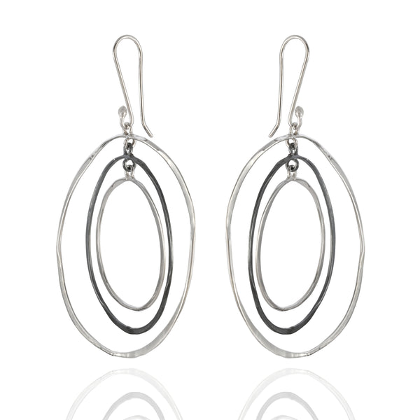 Sterling Silver Oxidized Circle Drop Earrings