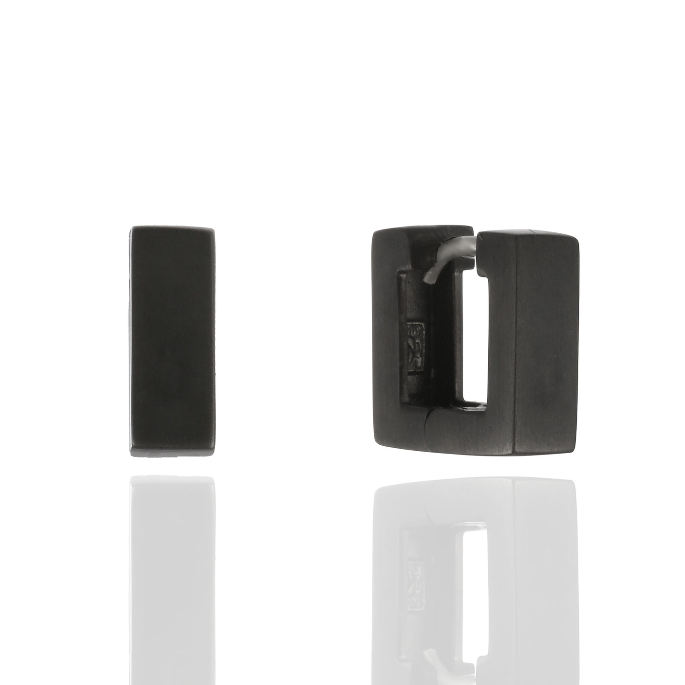 Sterling Silver Square Blackened Huggie Earrings