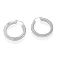 Sterling Silver Thick Squared Tube Hoop Earrings
