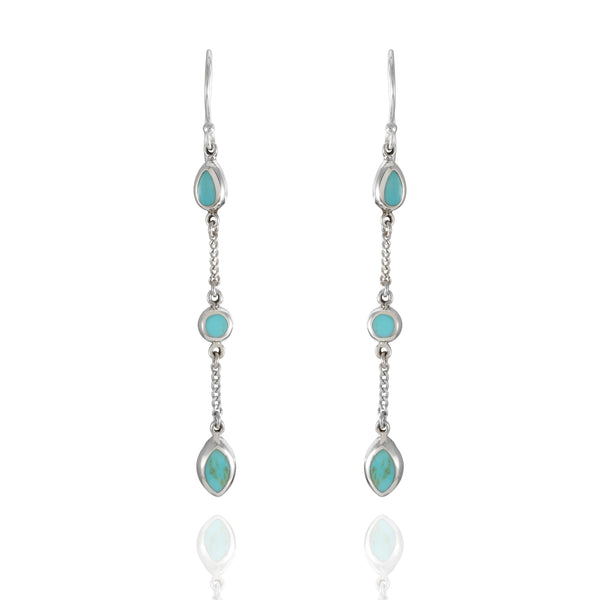 Sterling Silver Triple Turquoise Drop Earrings