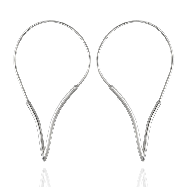 Sterling Silver V-Shaped Hoop Earrings
