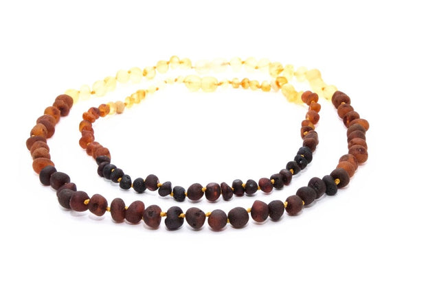 Small Beads Mom & Baby Necklaces made of Unpolished Baltic Amber - Rainbow