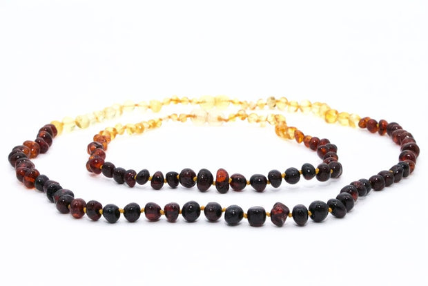 Small Beads Mom & Baby Necklaces made of Polished Baltic Amber - Rainbow