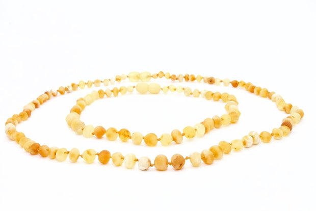 Small Beads Mom & Baby Amber Necklaces made of Unpolished Milky Baltic Amber