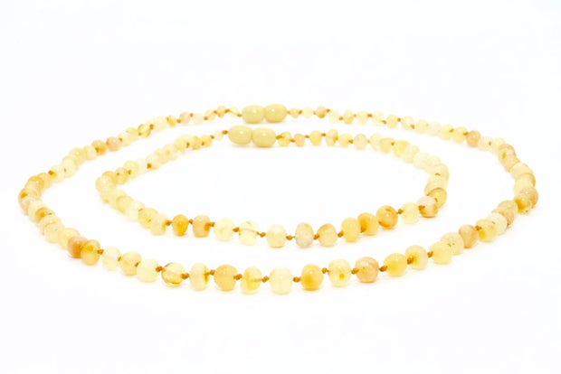Small Beads Mom & Baby Amber Necklaces made of Polished Milky Baltic Amber
