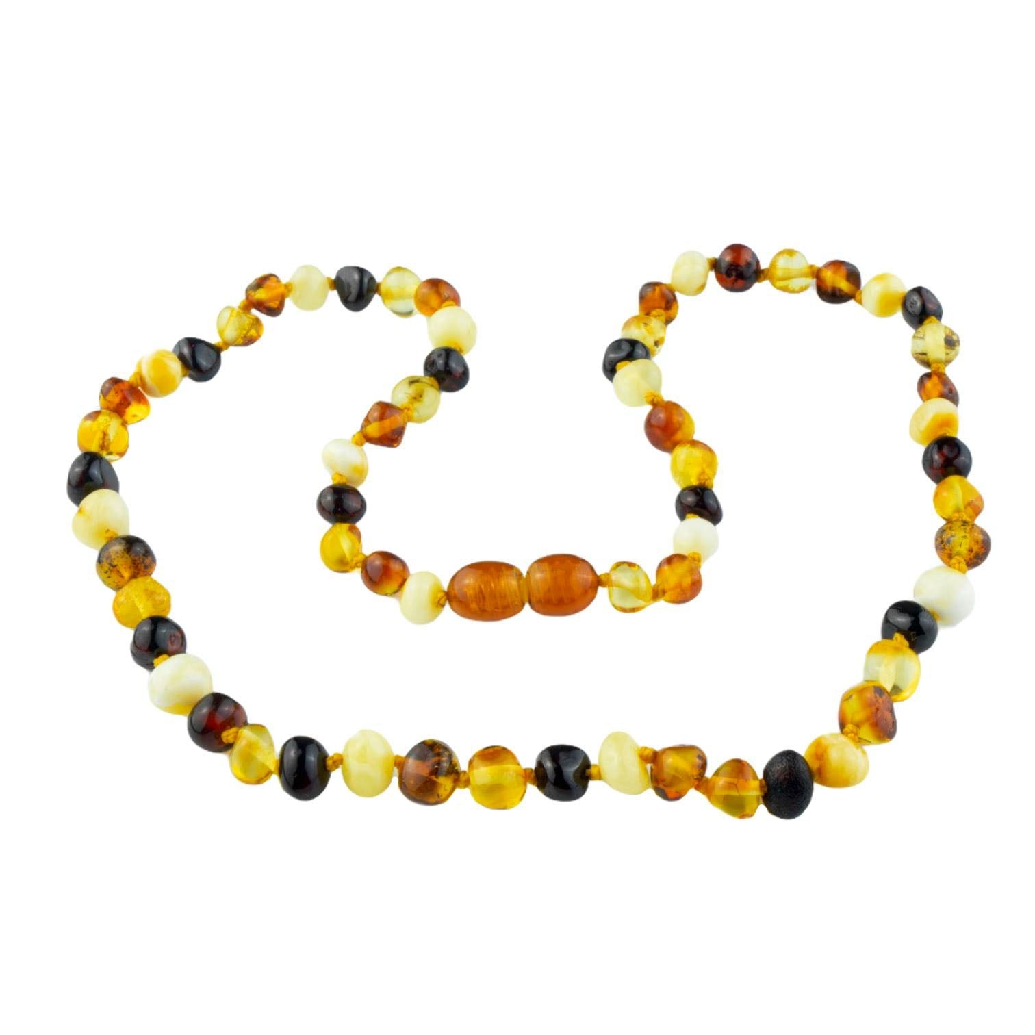 Natural Baltic Amber Long Adult Necklace with Polished Oval Shape Mix Colored Beads