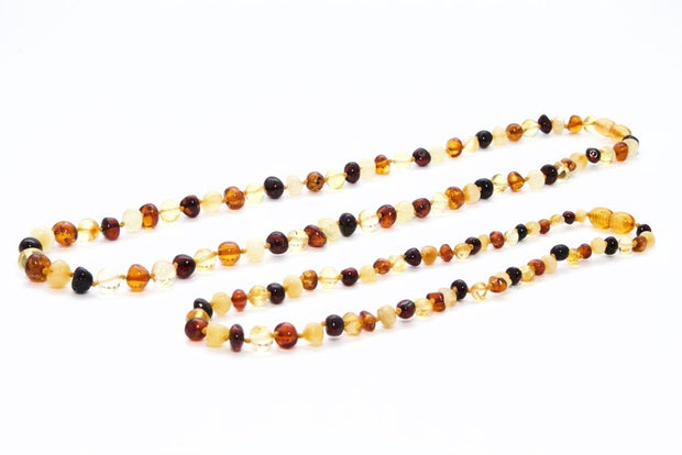 Small Beads Mom & Baby Amber Necklaces made of Polished Multicolor Baltic Amber