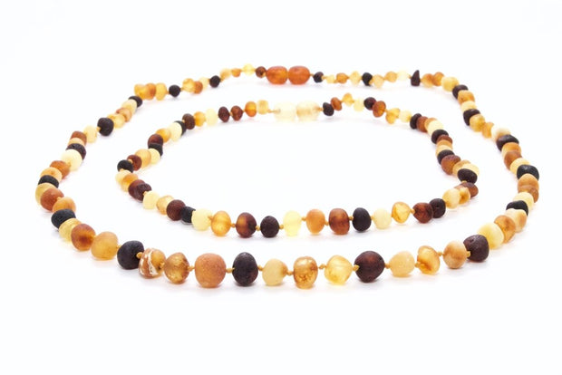Small Beads Mom & Baby Amber Necklaces made of Unpolished Multicolor Baltic Amber