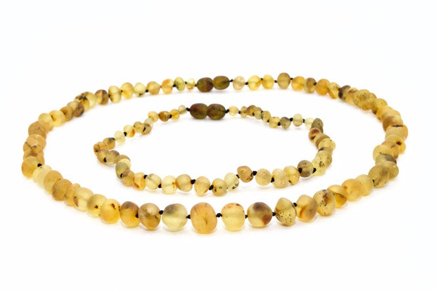 Large Beads Mom & Baby Amber Necklaces made of Unpolished Light Green Baltic Amber