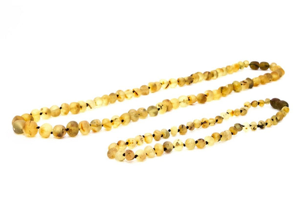 Small Beads Mom & Baby Amber Necklaces made of Unpolished Light Green Baltic Amber