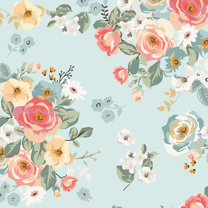 Gingham Gardens Blossoms Main in Aqua by My Mind's Eye | Riley Blake Fabrics