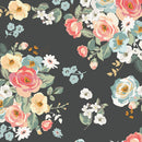 Gingham Gardens Blossoms Main in Charcoal by My Mind's Eye | Riley Blake Fabrics