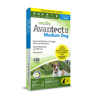 Vetality Avantect II Monthly Topical Flea and Tick Treatment for Medium Dogs