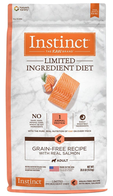 Nature's Variety Instinct Limited Ingredient Adult Diet Grain Free Real Salmon Recipe Natural Dry Dog Food