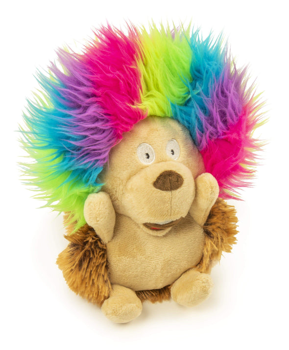 goDog Silent Squeak Crazy Hairs Hedgehog with Chew Guard Technology Durable Plush Dog Toy
