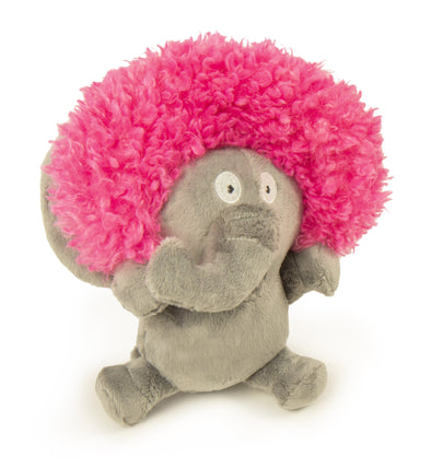 goDog Silent Squeak Crazy Hairs Elephant with Chew Guard Technology Durable Plush Dog Toy