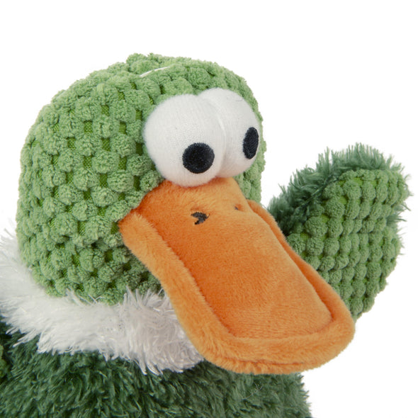 goDog Checkers Sitting Duck with Chew Guard Technology Durable Plush Dog Toy