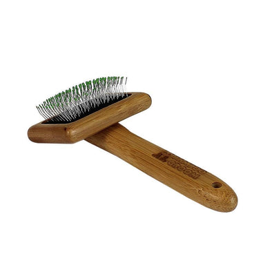 Bamboo Groom Soft Slicker Brush with Stainless Steel Pins for Pets
