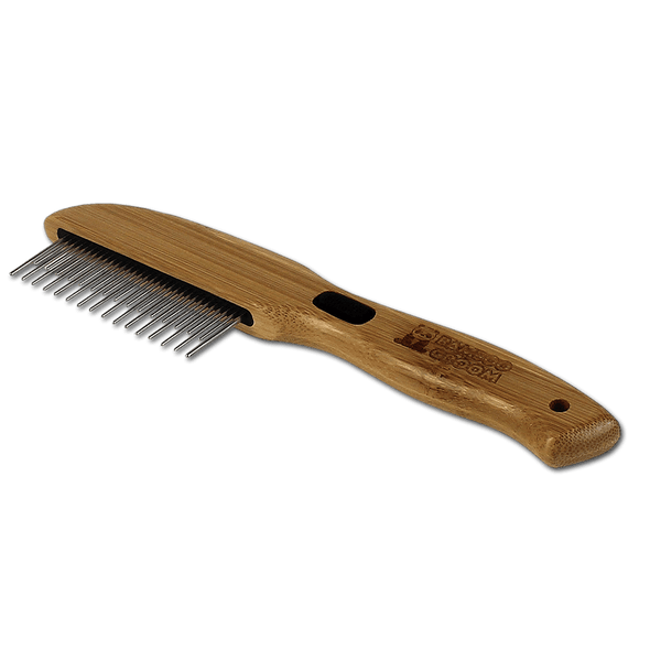 Bamboo Groom Rotating Pin Comb for Pets