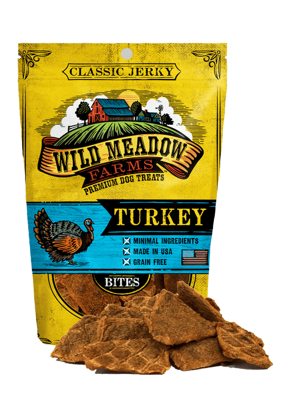 Wild Meadow Farms Classic Turkey Jerky Bites Treats for Dogs