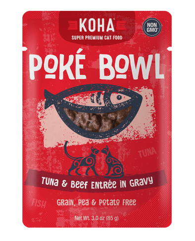 Koha Poké Bowl Tuna & Beef Entrée in Gravy Wet Cat Food Pouch